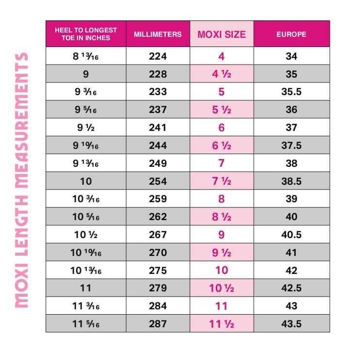 Moxi Roller Skate Size Chart