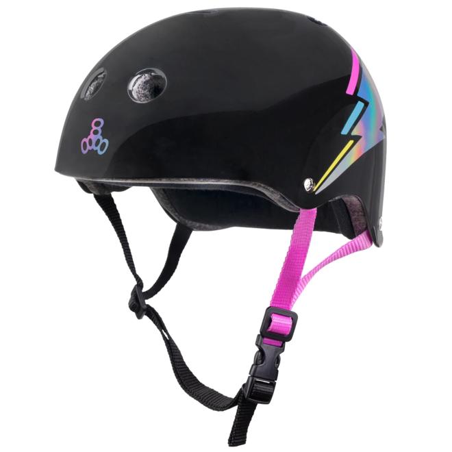 Triple8 Certified Sweatsaver Black Lightning Hologram Helmet