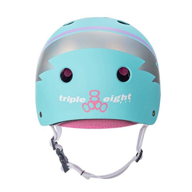 Triple8 Certified Sweatsaver Teal Lightning Hologram Helmet