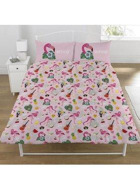 Emoji Duvet cover Flamingo double 200x200 + 50x75cm