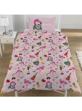 Emoji Duvet cover Flamingo single 135x200 + 50x75cm