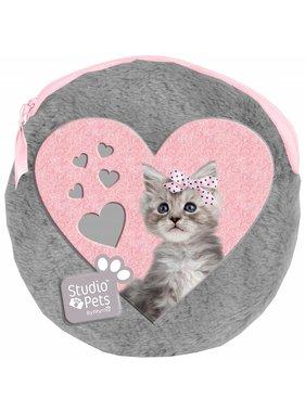 Studio Pets Pluche rond etui Sweet Kitty inclusief 2 notebooks 13x13 cm