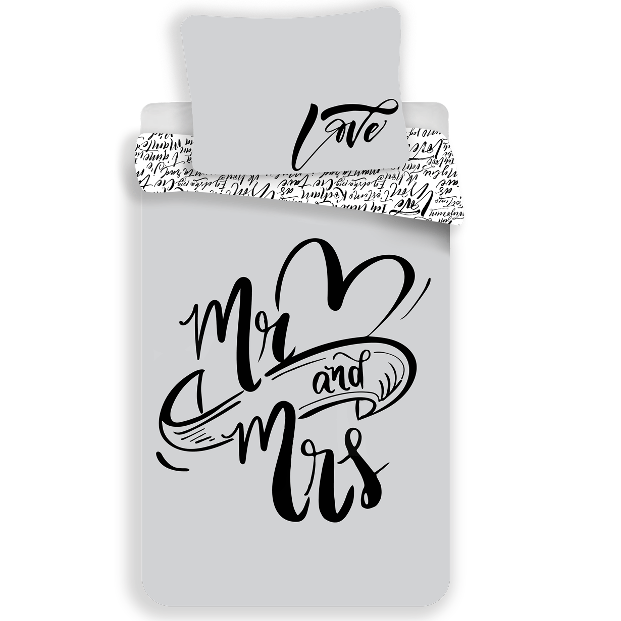 Mr & Mrs Duvet cover 140x200 + 70x90cm