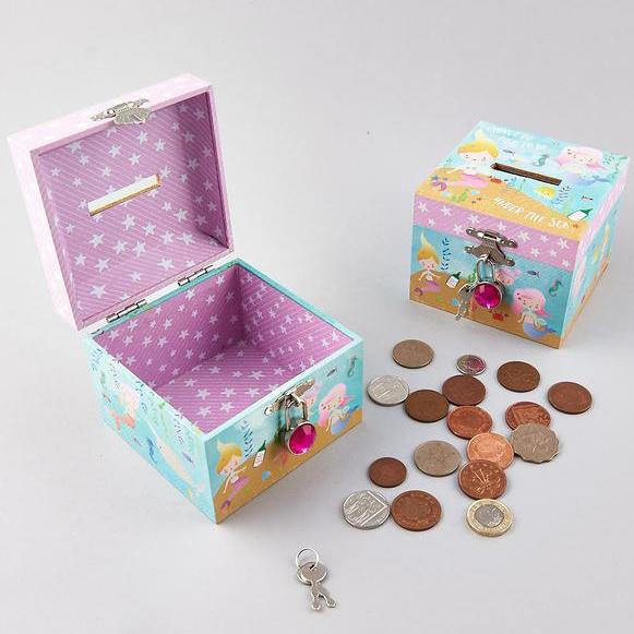 Floss & Rock Zeemeermin - geldkistje inclusief diamant slotje - 10.5  x 10.5 x 8.5 cm - Multi