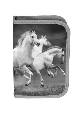 Animal Pictures White Horses Filled Pouch 19.5 cm