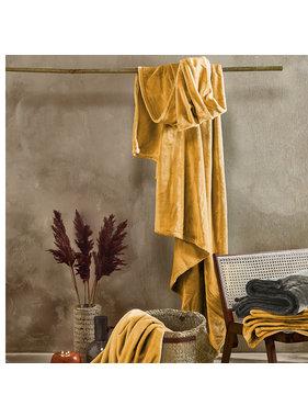 De Witte Lietaer Fleece plaid golden yellow 100% polyester