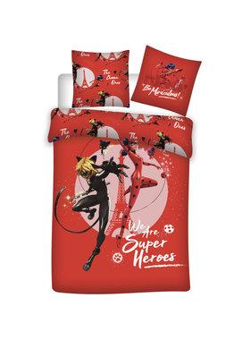 Miraculous Dekbedovertrek Super Heroes katoen 140x200xm + 65x65cm