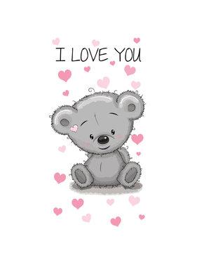 Teddybeer I love you strandlaken 140 x 70 cm