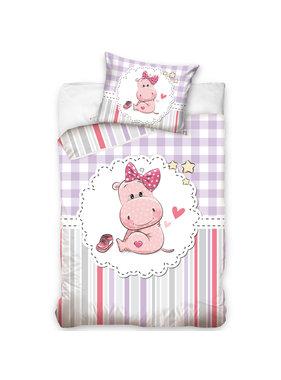 Nijlpaard BABY Dekbedovertrek Roze 100 x 135 cm