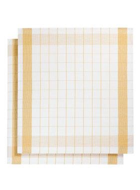 De Witte Lietaer Tea towel Glass towel Mixte Ocher Yellow 2 pieces 68 x 68 cm