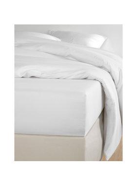 De Witte Lietaer Fitted sheet Cotton Satin Olivia White - 160 x 200 cm