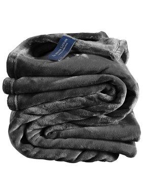 De Witte Lietaer Fleece throw Cozy 150x200 dark ebony 100% polyester