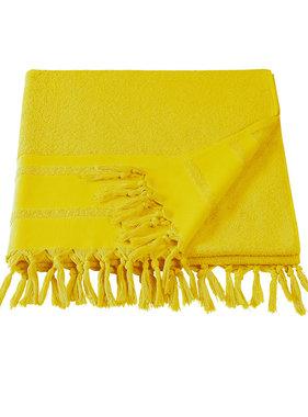 De Witte Lietaer Hammam beach towel with tassels Fjara yellow 100x180