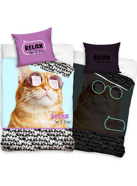 Animal Pictures Duvet cover Relax Cat Glow in the Dark 140 x 200 Cotton