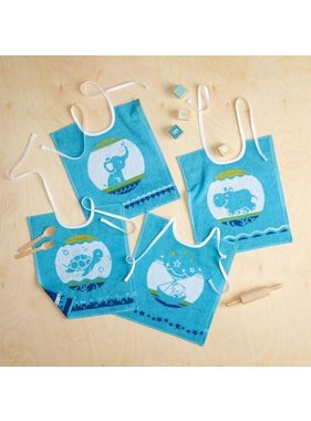 De Witte Lietaer Set of 4 baby bibs lapis blue 32x40cm