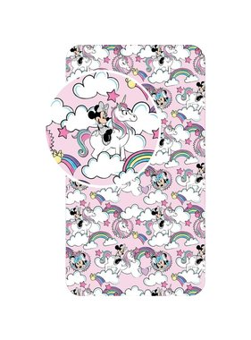 Disney Minnie Mouse Fitted Sheet Unicorn Pink 90 x 200 cm Cotton