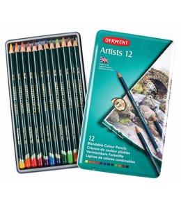 Derwent  Derwent Artists 12 crayons de couleur dans une boîte