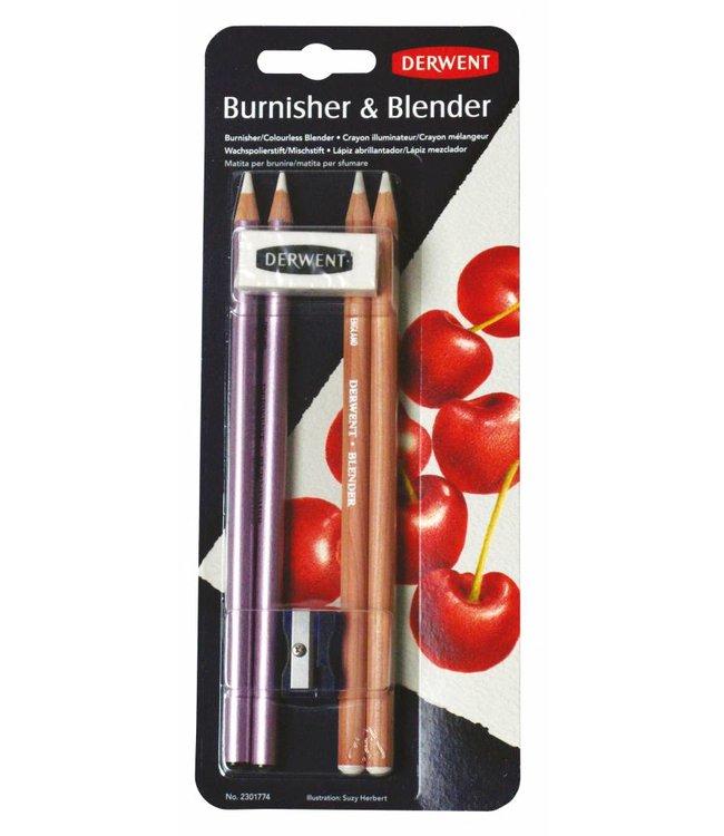 Derwent  Derwent Blender and Burnisher (2 x Blenders, 2 x Burnishers, 1 eraser, 1 sharpener)