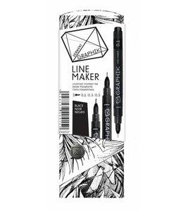 Derwent Graphik Derwent Graphik Line Maker Noir (pack de 3)