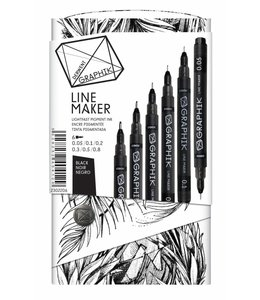 Derwent Graphik Derwent Graphik Line Maker Noir (Lot de 6)