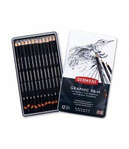 Derwent  Derwent Graphic Soft (Sketching) 12 Pencils 9B to H in a tin