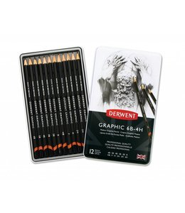 Derwent  Derwent Graphic Medium (Designer) 12 Bleistifte 6B bis 4H in einer Dose
