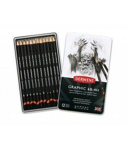 Derwent  Derwent Graphic Medium (Designer) 12 crayons 6B à 4H dans une boîte