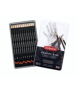 Derwent  Derwent Graphic Hard (Technique) 12 crayons B à 9H en boîte