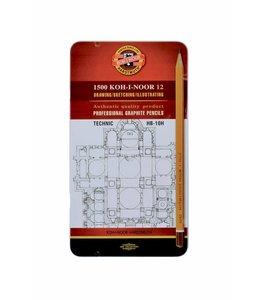 Koh I Noor Grafietpotlood 1502 Technic set 12 potloden