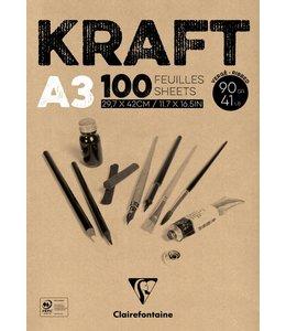 Clairfontaine Braunes Kraftpapier geklebt 100 Blatt A3 90 Gramm