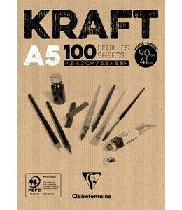 Clairfontaine Braunes Kraftpapier geklebt 100 Blatt A5 90 Gramm