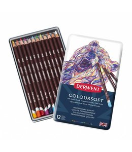 Derwent  Derwent Coloursoft 12 crayons in a tin