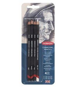 Derwent  Holzkohlen Bleistifte 4 Blister (Light, Medium, Dark, getönt Charcoal White)