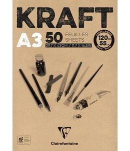 Clairfontaine Braunes Kraftpapier geklebt 50 Blatt A3 120 Gramm