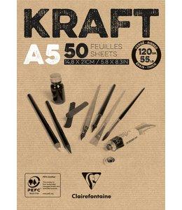 Clairfontaine Braunes Kraftpapier geklebt 50 Blatt A5 120 Gramm