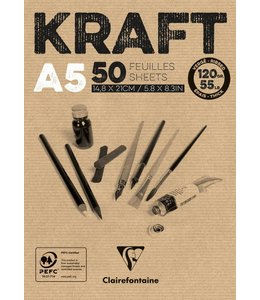 Clairfontaine Bruine kraftpapier gelijmde pads A5 120 gram
