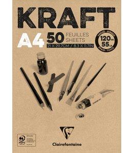 Clairfontaine Braunes Kraftpapier geklebt 50 Blatt A4 120 Gramm