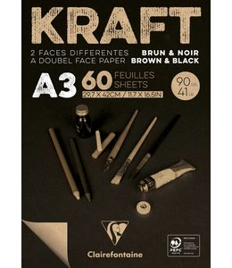 Clairfontaine Brown & Black laid kraft 90g A3 60sh pad