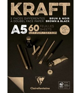 Clairfontaine Brown & Black laid kraft 90g A5 60sh pad
