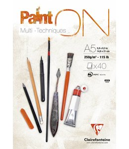 Clairfontaine Paint'On glued pad A5 40sh 250g white