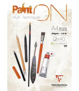 Clairfontaine Paint'On glued pad A4 40sh 250g white