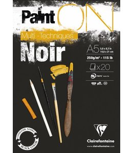 Clairfontaine Paint'On Black pad 20 sheets 250g A5