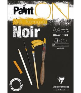 Clairfontaine Paint'On Black pad 20 sheets 250g A4