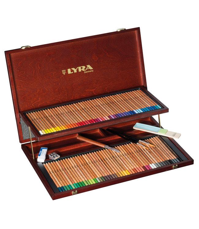 Lyra Houten kist REMBRANDT AQUARELL met 96 accessoires