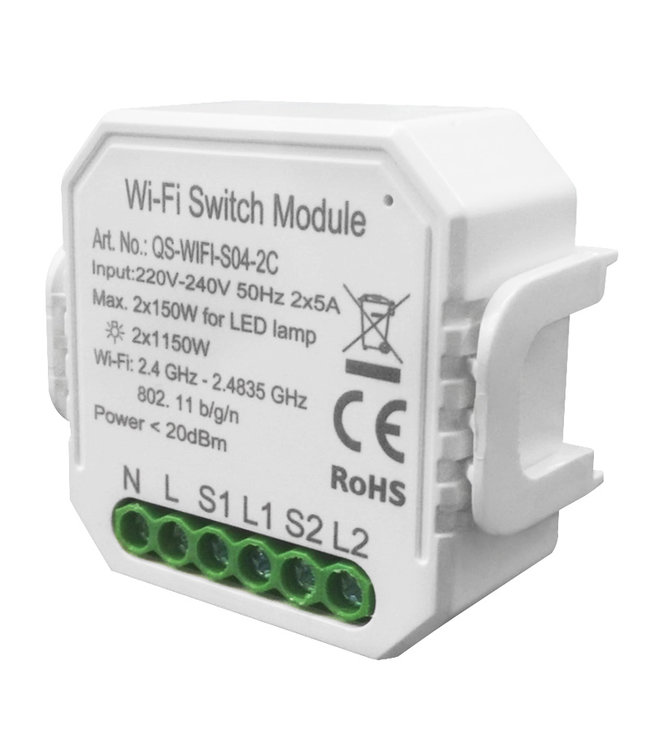 VH Control WiFi Switch Dubbel - 2 poorten (voor elektrische apparaten en LED)
