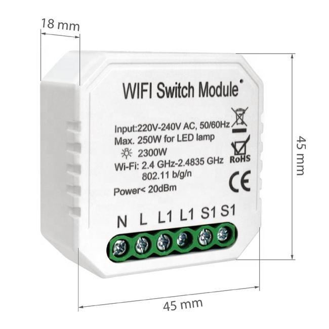 VH Control WiFi Smart Schakelaar enkelvoudig (voor elektrische apparaten en LED)