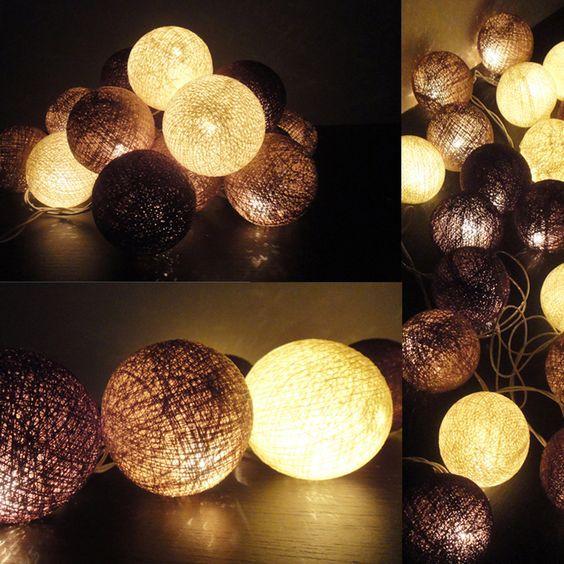 Cotton Ball Lights - Brown
