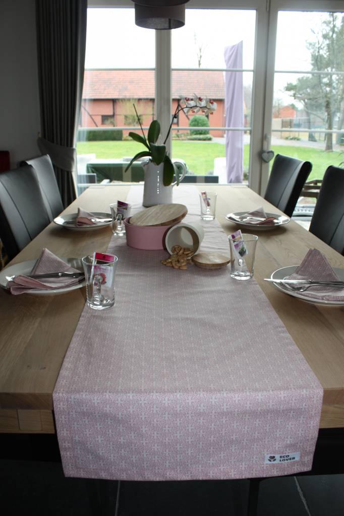 Tafelloper van biokatoen - Romantisch roze