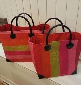 Rieten tas - Multicolor - brede strepen