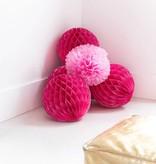 Set van 2 fuchsia pompoms